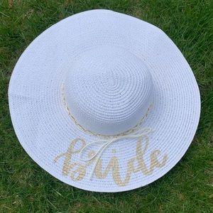 Gold Sparkle BRIDE White Sunhat